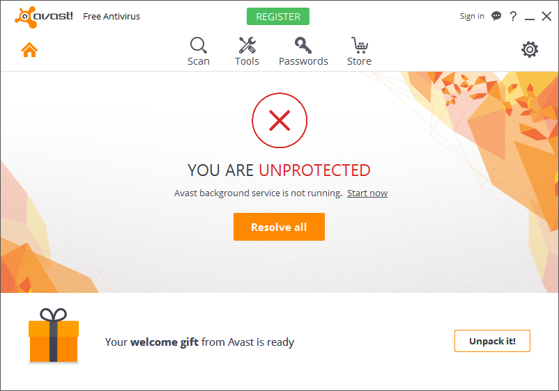 avast background service not running
