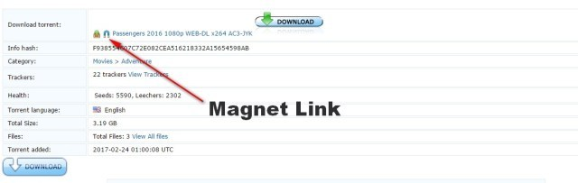 magnet link method for torrent