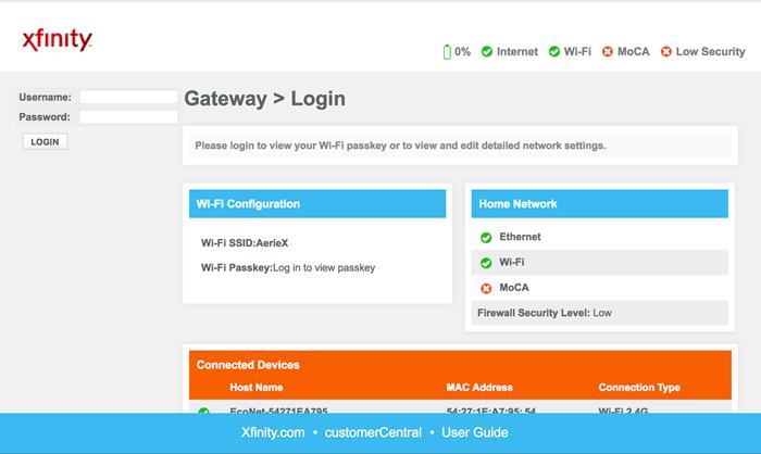 Xfinity Wi-Fi router login