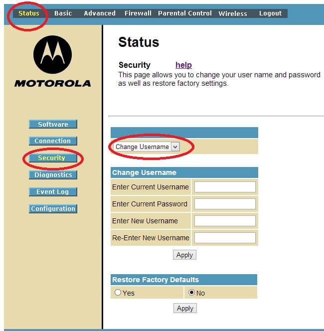 change motorola router default password