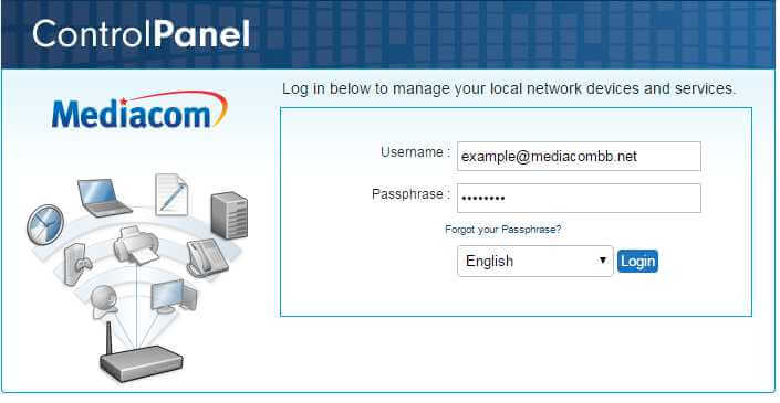 login to a Mediacom router