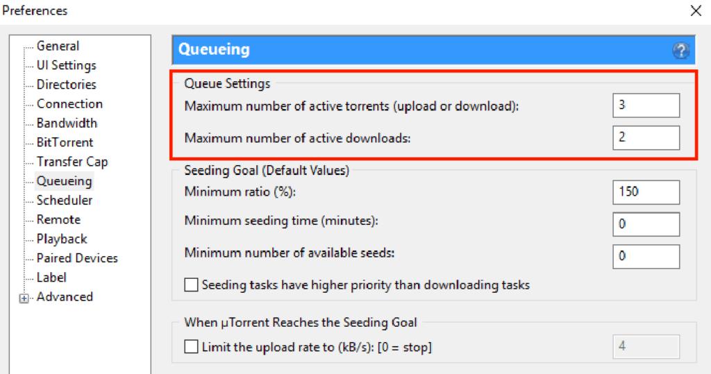 Queue Settings Optimization utorrent