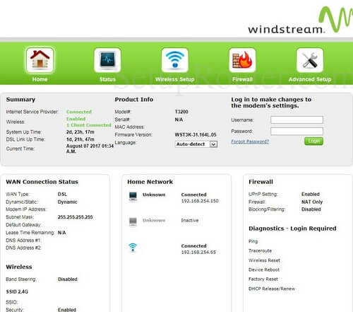 Configuring the default login details for Windstream router