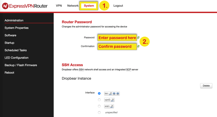 How to change the password for Expressvpn router