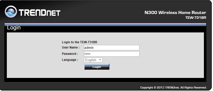 How to login to a Trendnet router