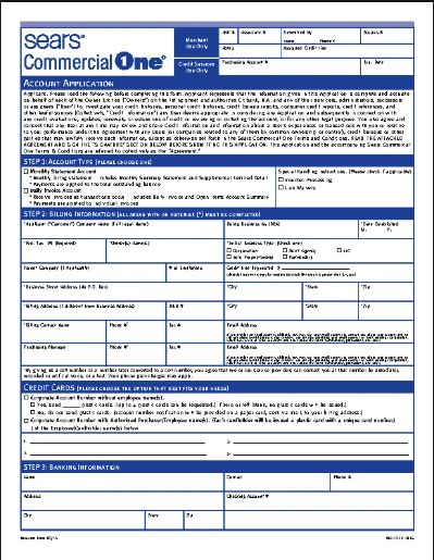 Application For a Sears Credit Card.