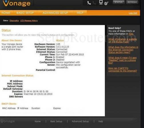 How to apply basic settings to your Vonage router.
