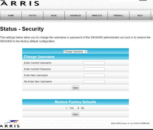 How to change Arris TM1602A router default password