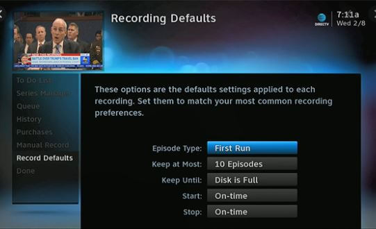 How to set record defaults for DirecTV