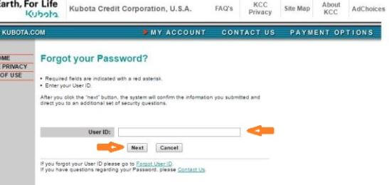 How to Retrieve your Kubota Credit USA Login Account Password