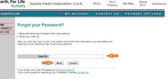 How to Retrieve your Kubota Credit USA Login Account Password
