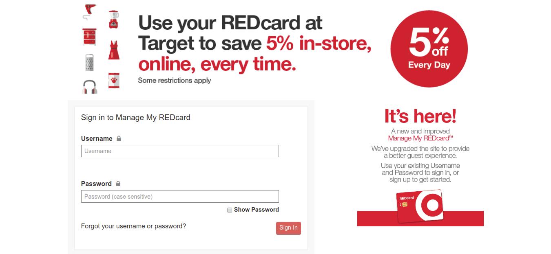 Target Red Card Login Process