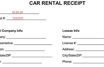 Fake Car Rental Receipt Generator